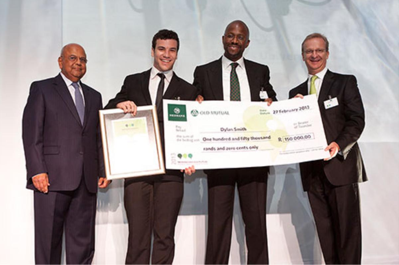 From left to right: Mr Pravin Gordhan, Minister of Finance; Mr Dylan Smith, Postgraduate winner 2013; Mr Ralph Mupita, CEO of Old Mutual Emerging Markets; Mr Mike Brown  CEO of Nedbank